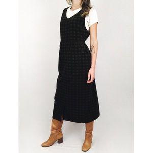 Vintage 💫 Plaid Corduroy Midi Dress